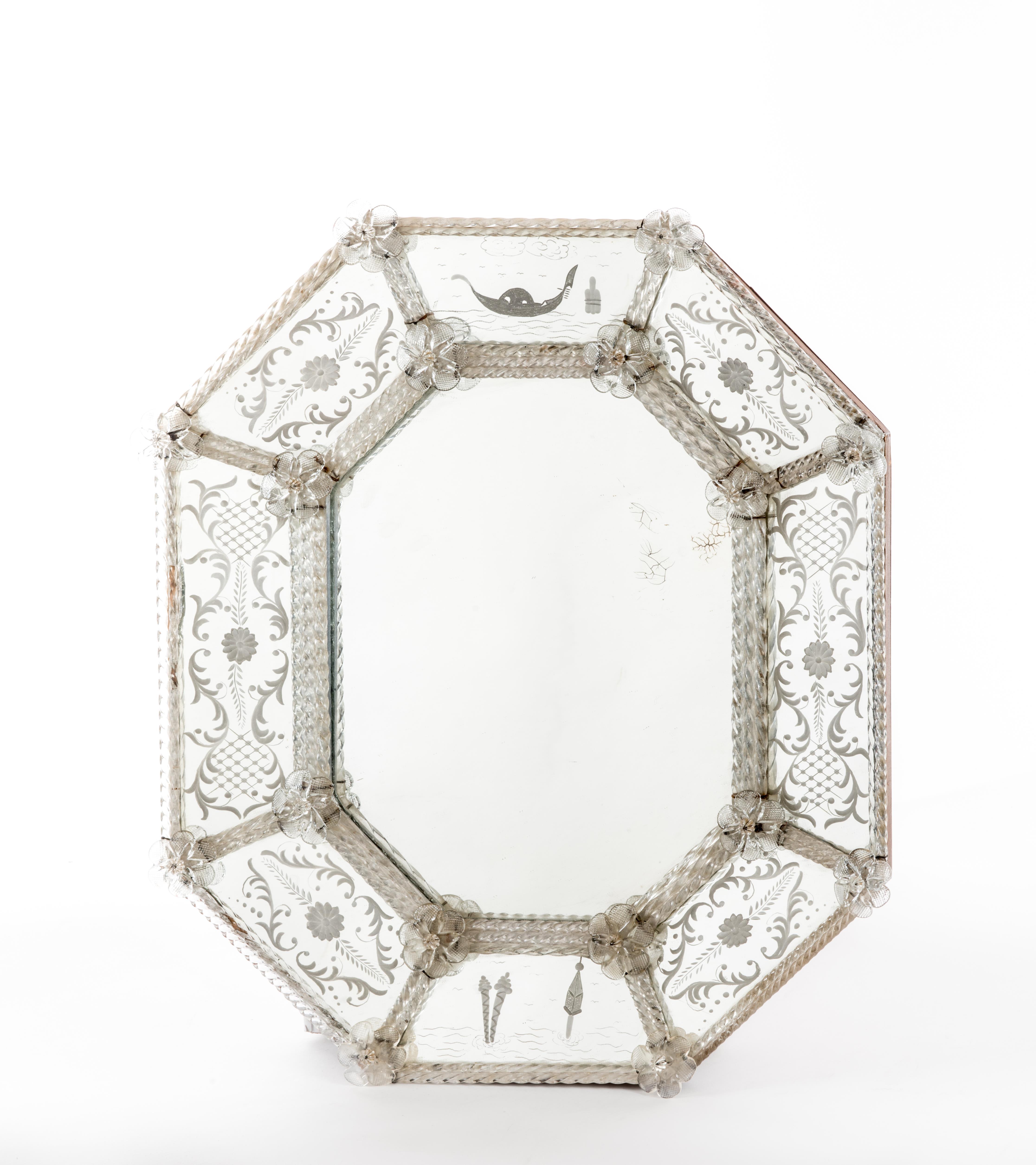 miroir en verre de Murano blanc, de forme octogonale